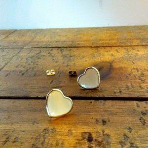 Vintage Metal and Enamel Heartshaped Post Earrings